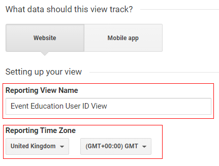 ga user id View Name and time zone