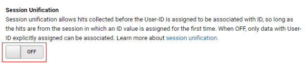 ga user id session unification turned off