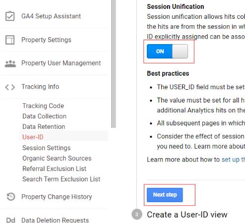 ga user id session unification turned on settings