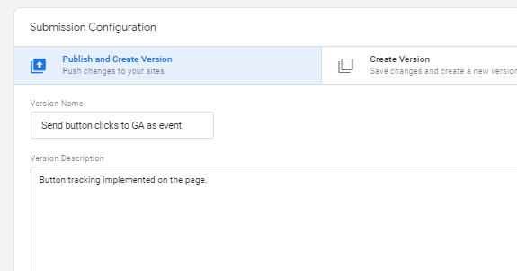 gtm event tracking Publish and create GTM Version