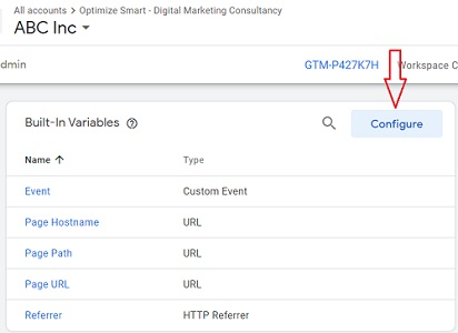 gtm event tracking configure builtin variables