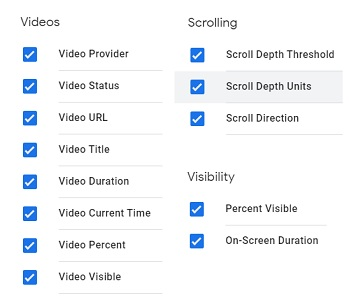 gtm event tracking videos scrolling visibility variables gtm