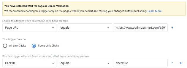 gtm event tracking wait for tags or check validation