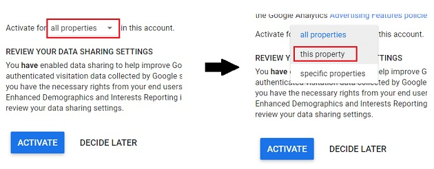select property to activate google signal