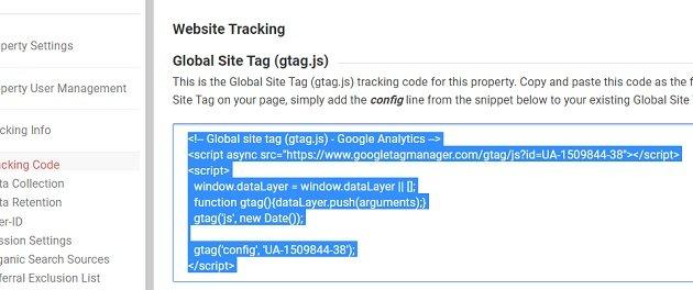 the Google Analytics tracking code
