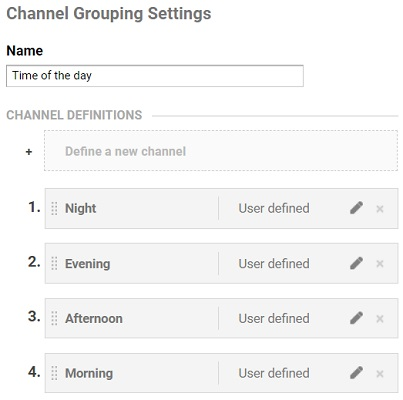 channel grouping settings