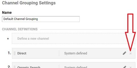 delete marketing channel google analytics