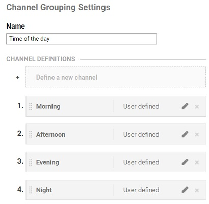final channel grouping settings