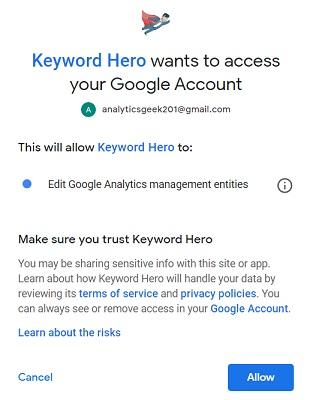 keyword hero wants to access your google analytics account