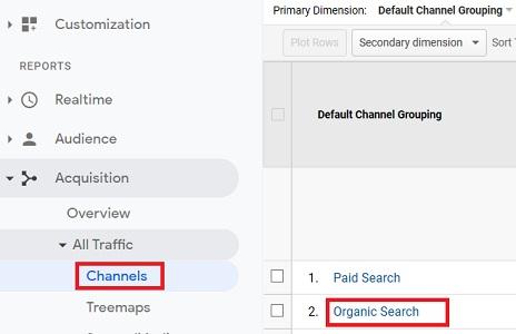 organic search traffic google analytics