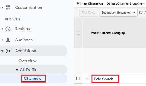 paid search traffic google analytics