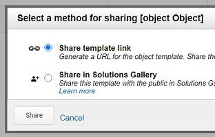 select a method for sharing object