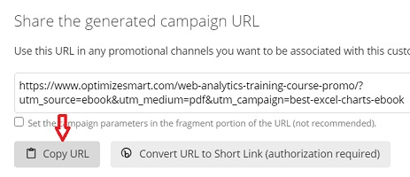utm tracking copy url button