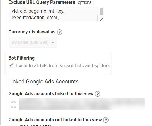 why direct traffic high Bot Filtering Settings