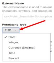 calculated metrics formatting type menu