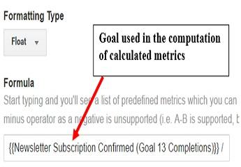calculated metrics goal used