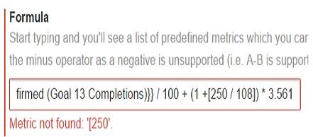 calculated metrics metric not found