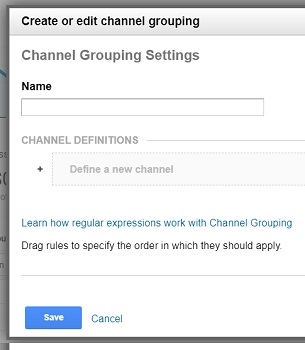 create or edit channel grouping