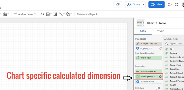 Chart specific calculated dimension