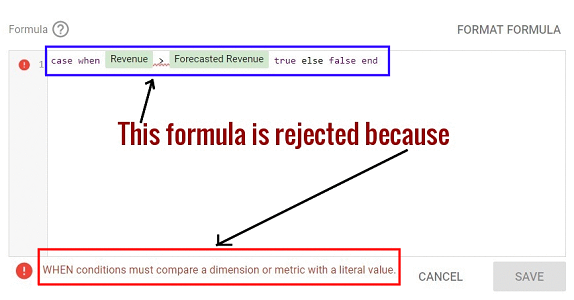 WHEN conditions must compare a dimension or metric with a literal value