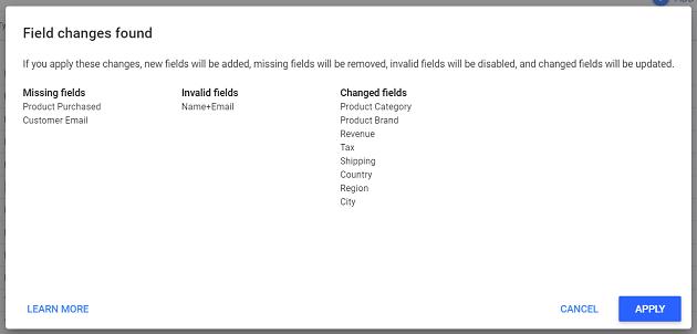 data studio field change found