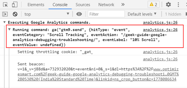 debugger tutorial event in console