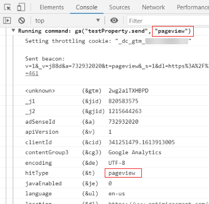debugger tutorial pageview in console