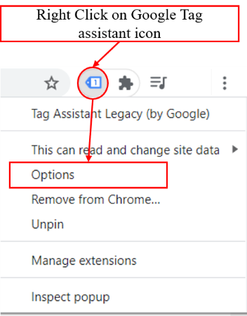 debugger tutorial right click on tag assistant icon