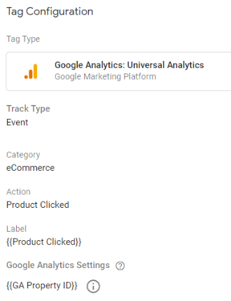 ecommerce tracking gtm PRODUCT CLICK