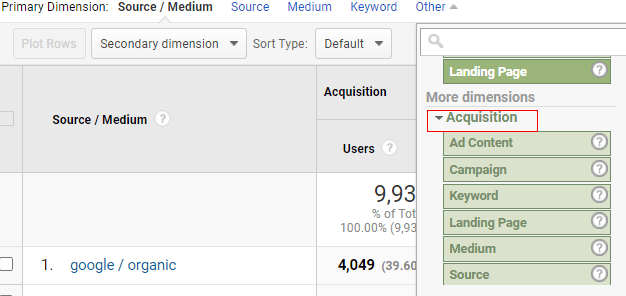 ga dimensions metrics acquization