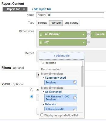 ga dimensions metrics add metric2