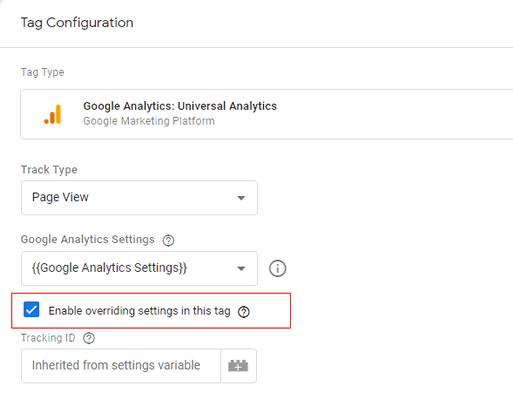 ga dimensions metrics enable override