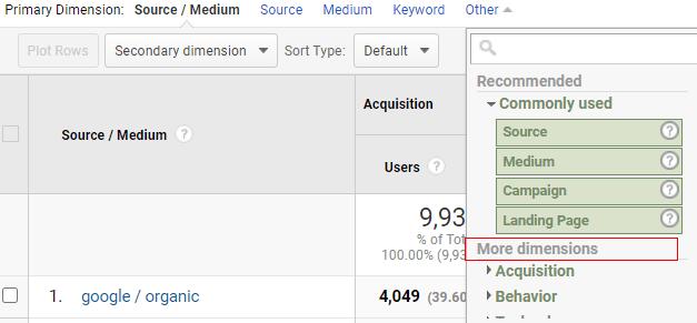 ga dimensions metrics more