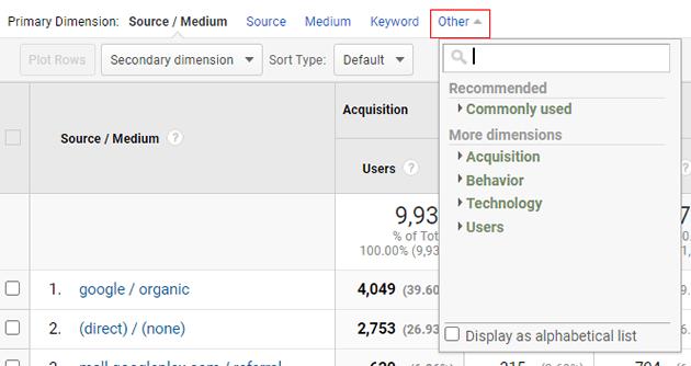 ga dimensions metrics other