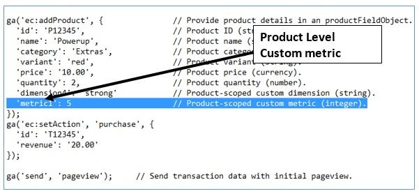 ga dimensions metrics product level custom metric