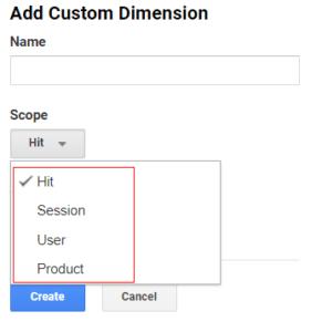 ga dimensions metrics scope