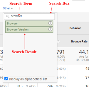ga dimensions metrics search