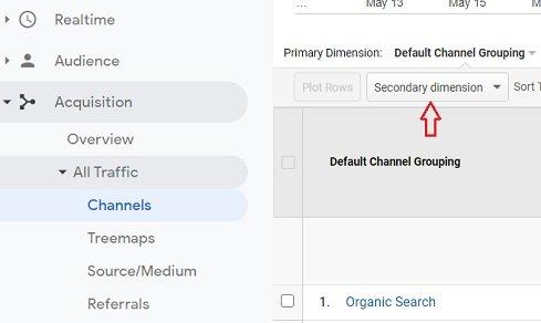 ga dimensions metrics secondary dimension button