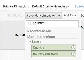 ga dimensions metrics secondary dimension country