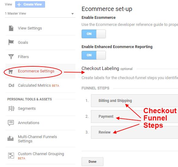 ga enhanced ecommerce tracking checkout funnel