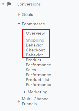 ga enhanced ecommerce tracking shopping analysis reports