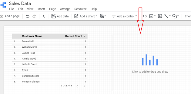 google data studio google sheets Click anywhere on the canvas to add the column chart