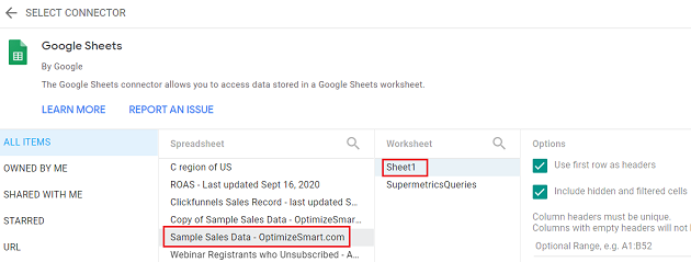 google data studio google sheets Find and click on your Google Sheet