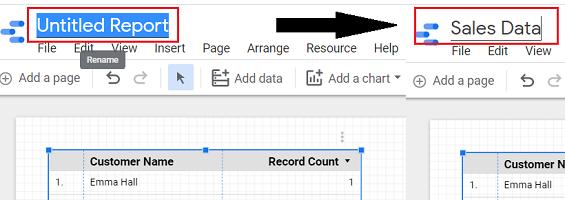 google data studio google sheets Rename your report