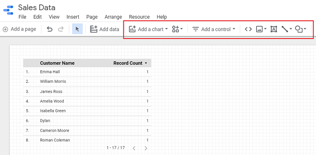 google data studio google sheets Start adding components to your report from the toolbar