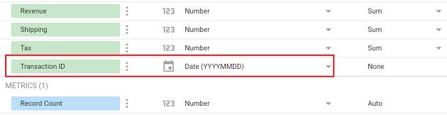 google data studio google sheets Transaction ID field is of type date