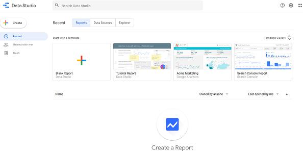 google data studio google sheets home page of the data studio