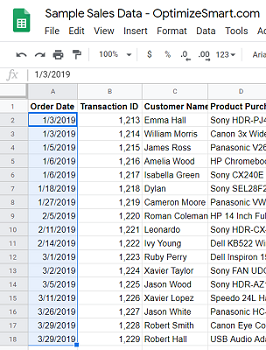 google sheets data Select all of your dates data
