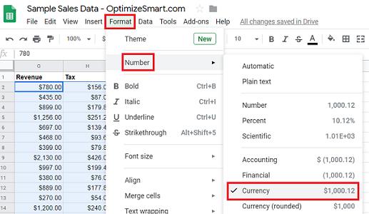 google sheets data currency data