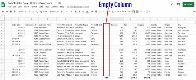 google sheets data empty column